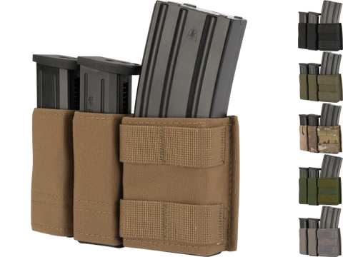 Esstac Side-BY-Side 1+2 5.56 / Double Stack Pistol KYWI Mag Pouch w/ WTF Straps (Color: Multicam)