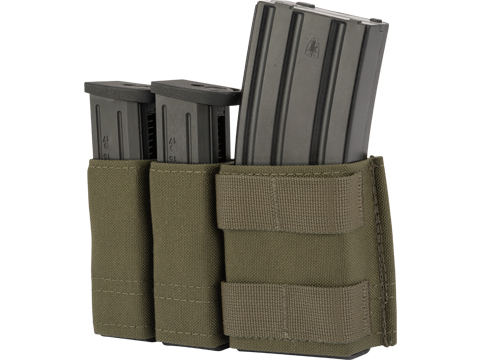Esstac Side-BY-Side 1+2 5.56 / Double Stack Pistol KYWI Mag Pouch w/ WTF Straps (Color: Ranger Green)