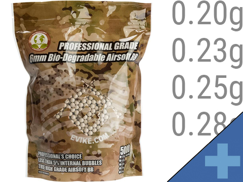 Evike Match Grade Biodegradable 6mm Airsoft BBs (Weight: .20g / 5000 Rounds / White)