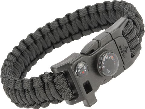 Evike.com Paracord Advanced Survival Bracelet with Firestarter (Color: Black / 8)