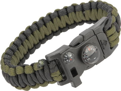 Evike.com Paracord Advanced Survival Bracelet with Firestarter (Color: OD Green and Black / 7)