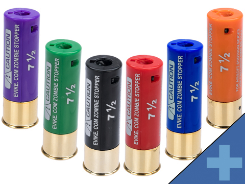 Evike Zombie Stopper 30 Round Shells for Multi & Single-Shot Airsoft Shotguns (Color: Red, Blue, Black / 6 Pack)