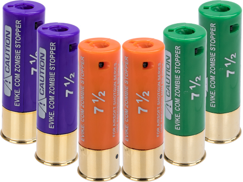 Evike Zombie Stopper 30 Round Shells for Multi & Single-Shot Airsoft Shotguns (Color: Green, Orange, Purple / 6 Pack)