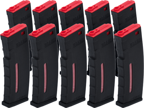 Evike.com BAMF 30rd Polymer MilSim Magazine for M4 / M16 Series Airsoft AEG Rifles (Color: Black & Red / Pack of 10)