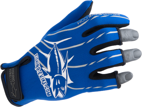 Fishing.Evike Shark Skin 3-Finger Deep Sea Fishing Gloves (Style: Blue / XLarge)