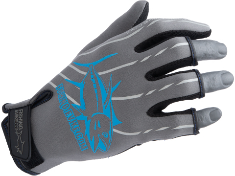 Fishing.Evike Shark Skin 3-Finger Deep Sea Fishing Gloves (Style: Grey / Medium)