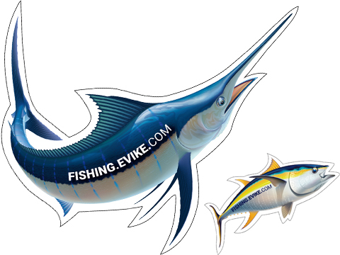 Fishing.Evike Vinyl Sticker (Design: Marlin)