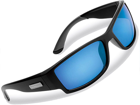 Flying Fisherman Razor Polarized Sunglasses (Color: Matte Black w/ Smoke-Blue Mirror Lens)