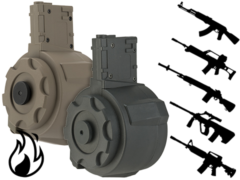 Angel Custom 1500 Round Firestorm Airsoft AEG Drum Flashmag