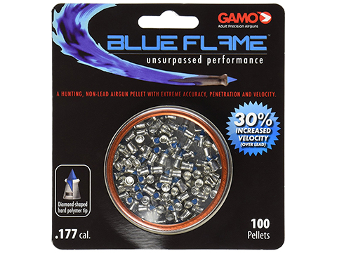 GAMO Blue Flame Polymer Tipped Non-Lead .177 cal. High Performance Hunting Pellets (Qty: 100rd Blister Pack)