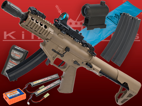 Go Airsoft Package King Arms PDW 9mm SBR Airsoft AEG Rifle (Color: Desert Earth / Shorty with Optic)