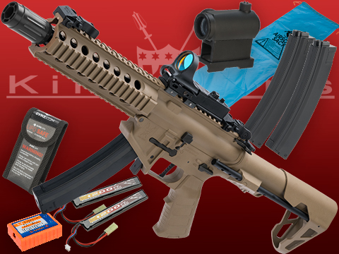 Go Airsoft Package King Arms PDW 9mm SBR Airsoft AEG Rifle (Color: Desert Earth / Long with Optic)