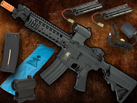Go Airsoft Package Matrix Sportsline M4 Airsoft AEG Rifle w/ G2 Micro-Switch Gearbox (Model: Black URX 8)