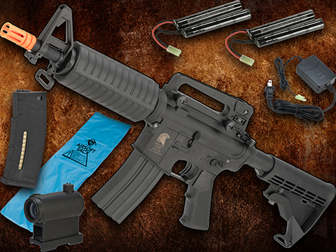 Go Airsoft Package Matrix Sportsline M4 Airsoft AEG Rifle w/ G2 Micro-Switch Gearbox (Model: Black M4 Commando)