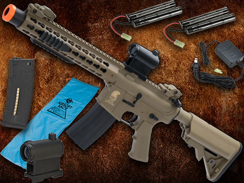 Go Airsoft Package Matrix Sportsline M4 Airsoft AEG Rifle w/ G2 Micro-Switch Gearbox (Model: 10 Keymod w/ Suppressor / Dark Earth)