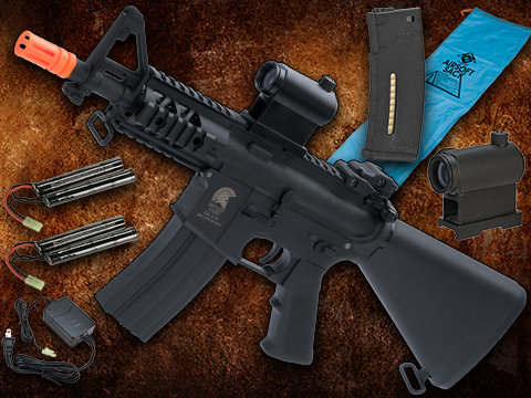 Go Airsoft Package Matrix Sportsline M4 Airsoft AEG Rifle w/ G3 Micro-Switch Gearbox (Model: Black Stubby Fixed Stock 5)
