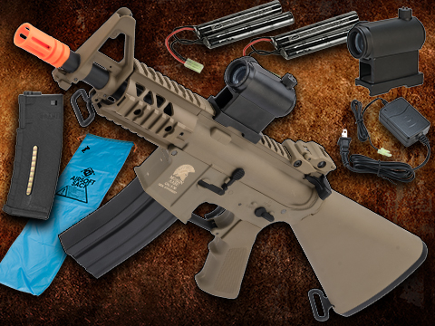 Go Airsoft Package Matrix Sportsline M4 RIS Airsoft AEG Rifle w/ G3 Micro-Switch Gearbox (Model: Dark Earth Stubby 5 Fixed Stock)