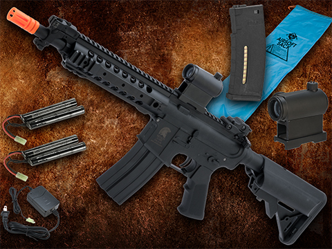 Go Airsoft Package Matrix Sportsline M4 Airsoft AEG Rifle w/ G2 Micro-Switch Gearbox (Model: Black URX 8 / 350 FPS)