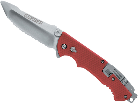 Gerber Hinderer Rescue Knife with Serrated Blade and Nylon Sheath