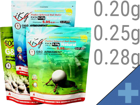 G&G High Grade Biodegradable 6mm Airsoft BBs (Weight: .20g / 5000 Rounds / White)