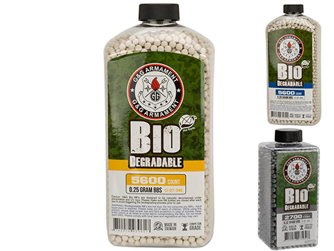 G&G Precision Biodegradable Match Grade 6mm Airsoft BBs (Weight: .25g / 5600 Rounds / White)