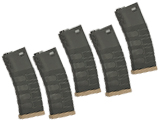 G&G Polymer 120rd Mid-Cap Magazine for M4 / M16 Series Airsoft AEG Rifles (Color: Black w/ Desert Baseplate / Set of 5)