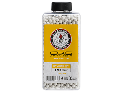 G&G Airsoft Precision 6mm Airsoft BBs (Weight: .25g / 2700 Rounds / White)