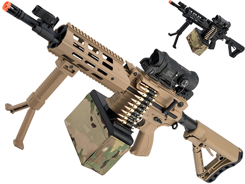 G&G CM16 LMG Airsoft AEG Light Machine Gun (Color: Tan)
