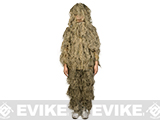 Adventure Gear Full Body 3-Piece Concealment Ghillie Suit Set for Children - Desert