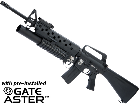 G&P Scar Face M16A1 VN w/ M203 Grenade Launcher Airsoft AEG Rifle and GATE ASTER Programmable MOSFET