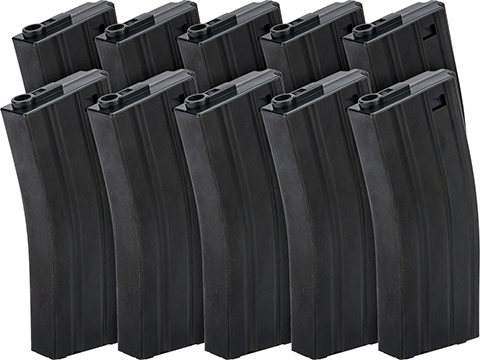 G&P Metal 130rd Mid-Cap Magazine for M4 / M16 Series Airsoft AEG Rifles (Color: Black / Set of 10)