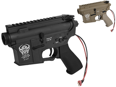 G&P Complete M4 Metal Receiver & Gearbox Airsoft AEG ProKit (Skull Frog) (Version: Rear Wire / Black)