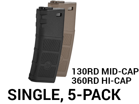 G&P Evike High RPS Polymer Magazine for M4 M16 Airsoft AEG Rifles (Type: 130rd Mid-Cap / Black / Single Magazine)