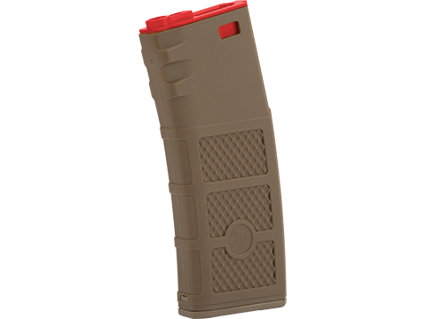 Evike High RPS Polymer Training Magazine w/ EV Texturing for M4 Airsoft AEG Rifles (Type: 130rd Mid-Cap / Dark Earth w/ Red Lip)