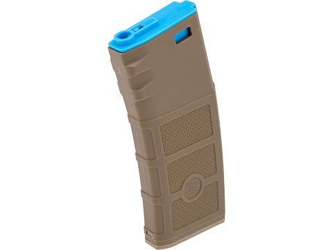 Evike High RPS Polymer Training Magazine w/ EV Texturing for M4 Airsoft AEG Rifles (Type: 130rd Mid-Cap / Dark Earth w/ Blue Lip)