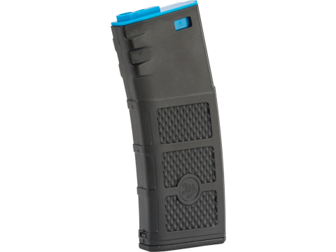 G&P High RPS Polymer Training Magazine w/ EV Texturing for M4 Airsoft AEG Rifles (Type: 130rd Mid-Cap / Black w/ Blue  Lip)