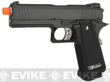 WE-USA Full Metal Hi-CAPA Airsoft Gas Blowback Pistol (Model: 4.3 2011 Commander / Black w/ Green Gas Mag)
