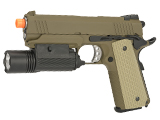 WE-Tech Full Metal 1911 Desert Warrior Socom 4.3 Airsoft Gas Blowback Pistol - Tan (Package: with Weapon Light)