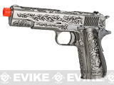 WE-Tech Full Metal Filigree 1911 Heavy Weight Airsoft Gas Blowback Pistol - Silver
