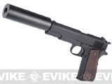 WE Newest Version Full Metal 1911 Military Airsoft Gas Blowback with Mock Silencer & Threaded Barrel