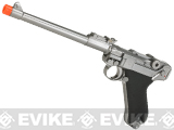 WE WWII Full Size / Metal Luger Airsoft Gas Blowback  (Color: Silver / 8 Inch)