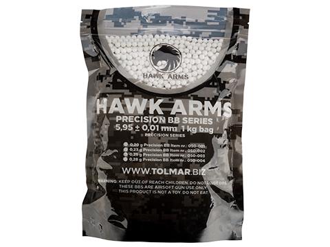 HAWK ARMS Precision 6mm Airsoft BBs (Weight: 0.23g / 4300 Rounds / White)