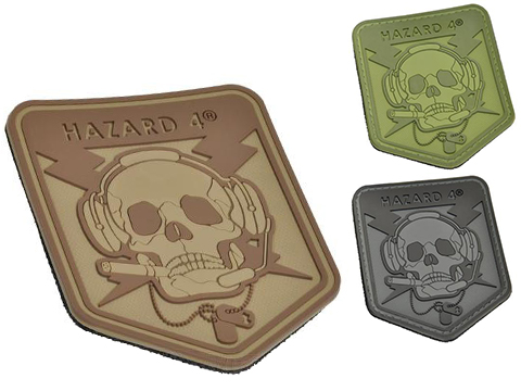 Hazard 4 Spec Op Skull Rubber Hook and Loop Patch (Color: Black)