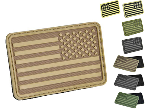 Hazard 4 US Flag Rubber Hook and Loop Patch (Style: Left Arm / Black)
