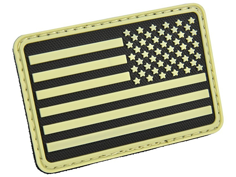 Hazard 4 US Flag Rubber Hook and Loop Patch (Style: Right Arm / Glow)