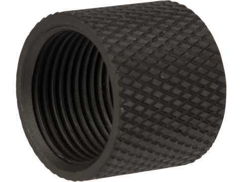 Vaultac CNC Cut Knurled Thread Protector Cap - Black (14mm Positive)