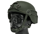 Matrix MICH 2000 Fiberglass Airsoft Helmet w/ NVG Mount & Side Rail (Color: OD Green)
