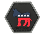 Operator Profile PVC Hex Patch  Political Party Series (Party: Democrat)