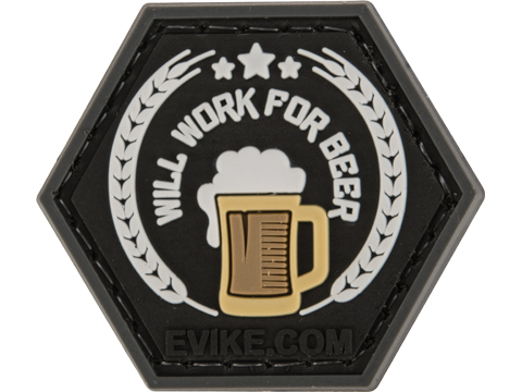 Operator Profile PVC Hex Patch Catchphrase Series (Style: Will Work For Beer)