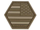 Operator Profile PVC Hex Patch American Flag Series (Color: Tan / Reverse)